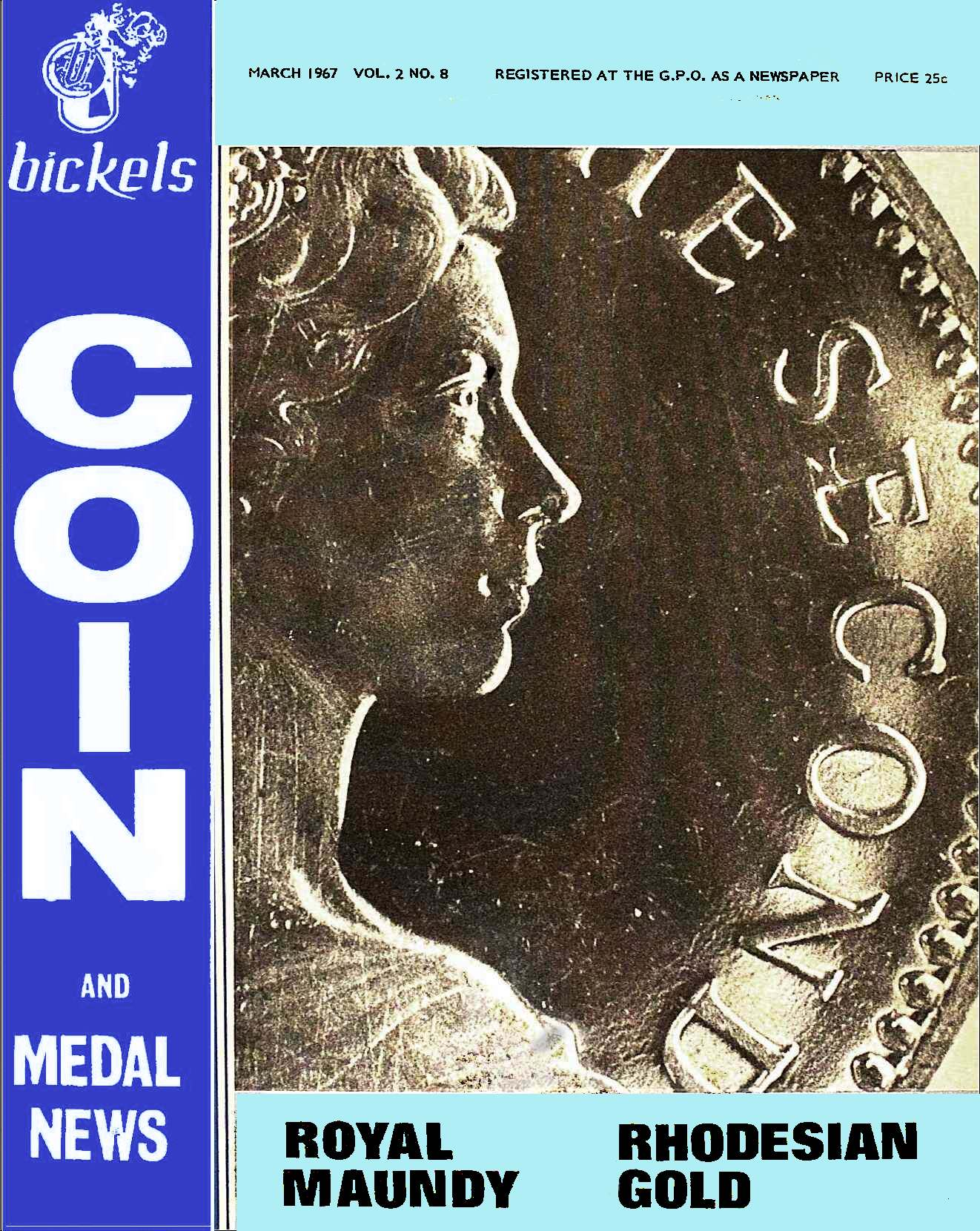 Bickels Coin & Medal News March 1967 Vol 2 No 8
