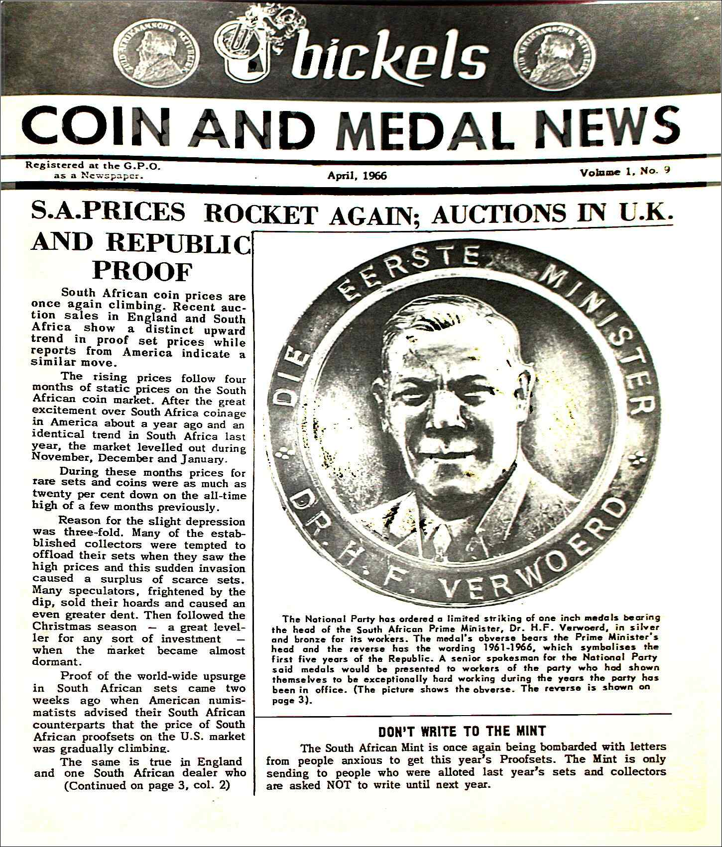 Bickels Coin & Medal News April 1966 Vol 1 No 9