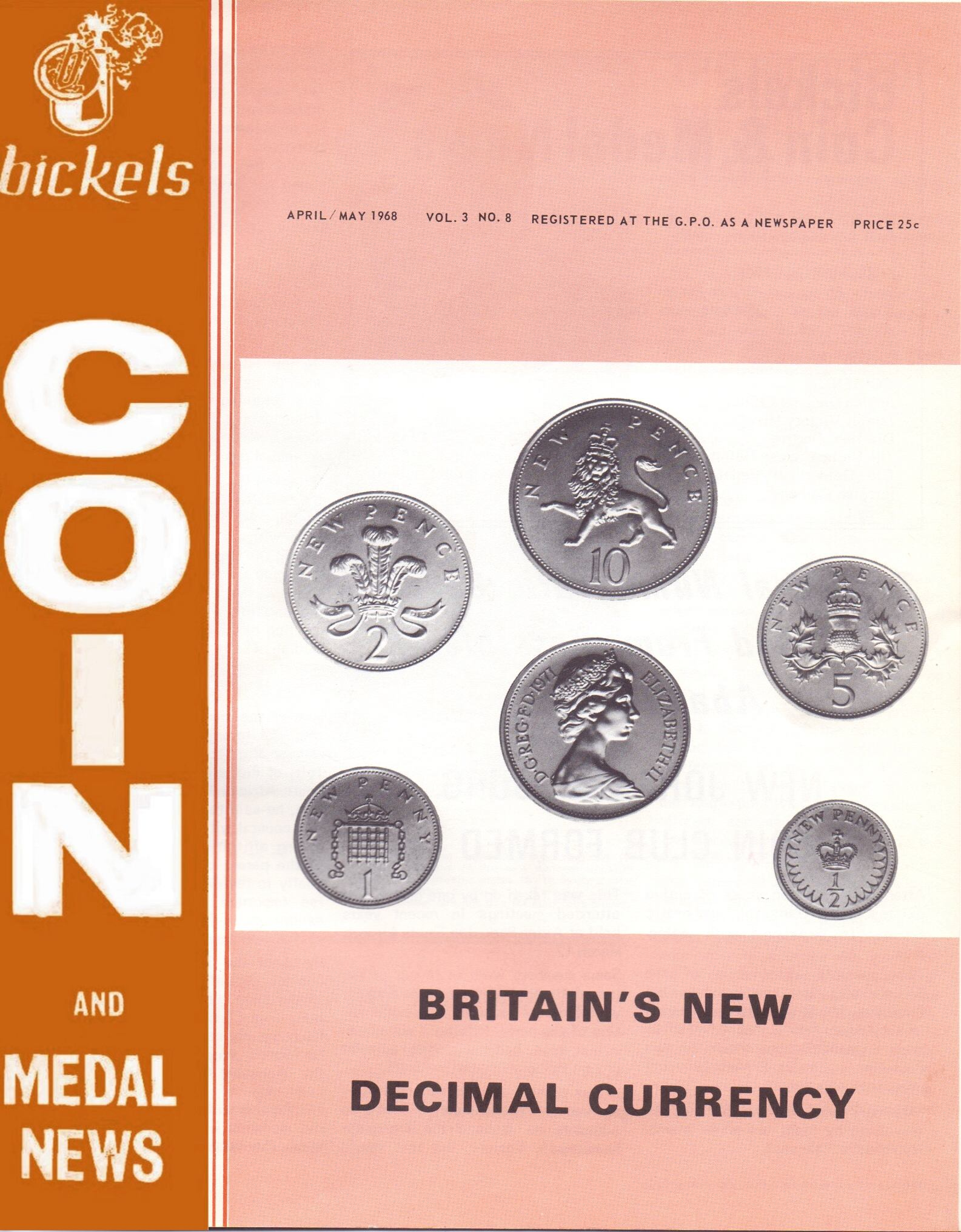 Bickels Coin & Medal News April May 1968 Vol 3 No 8