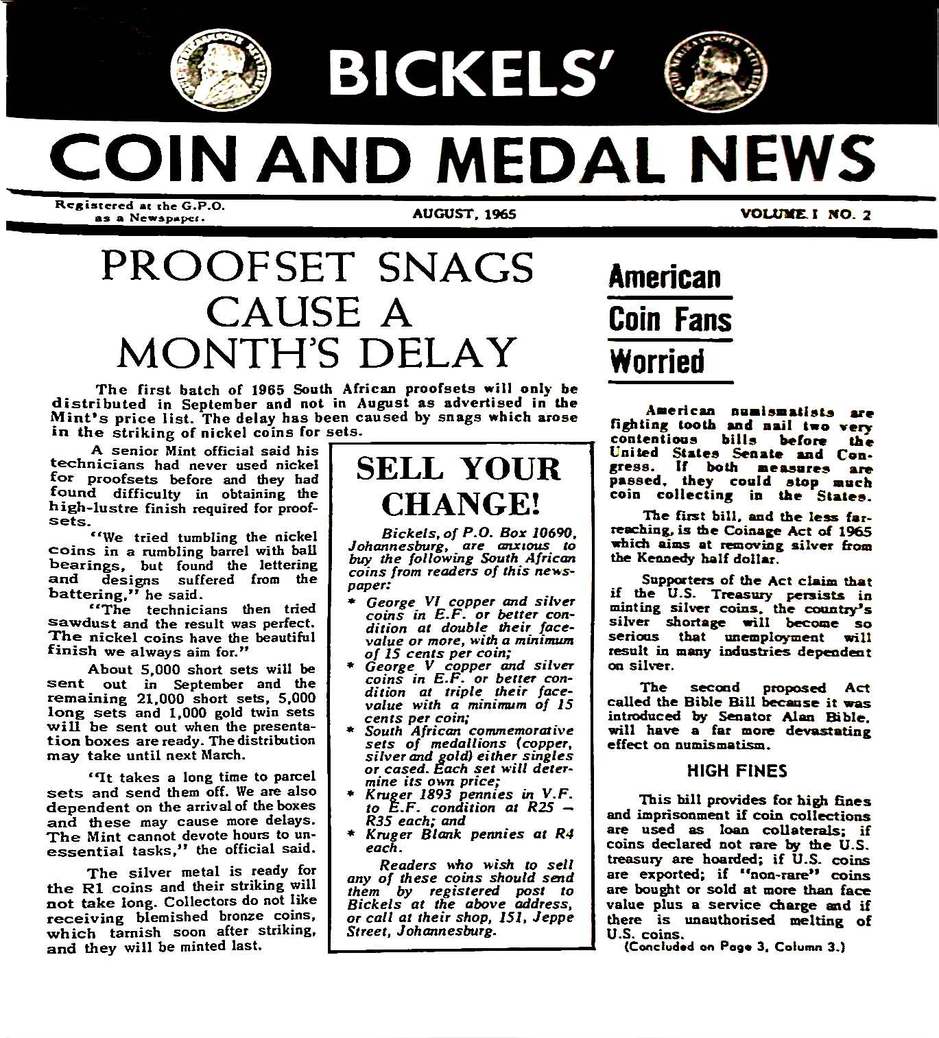 Bickels Coin & Medal News August 1965 Vol 1 No 2