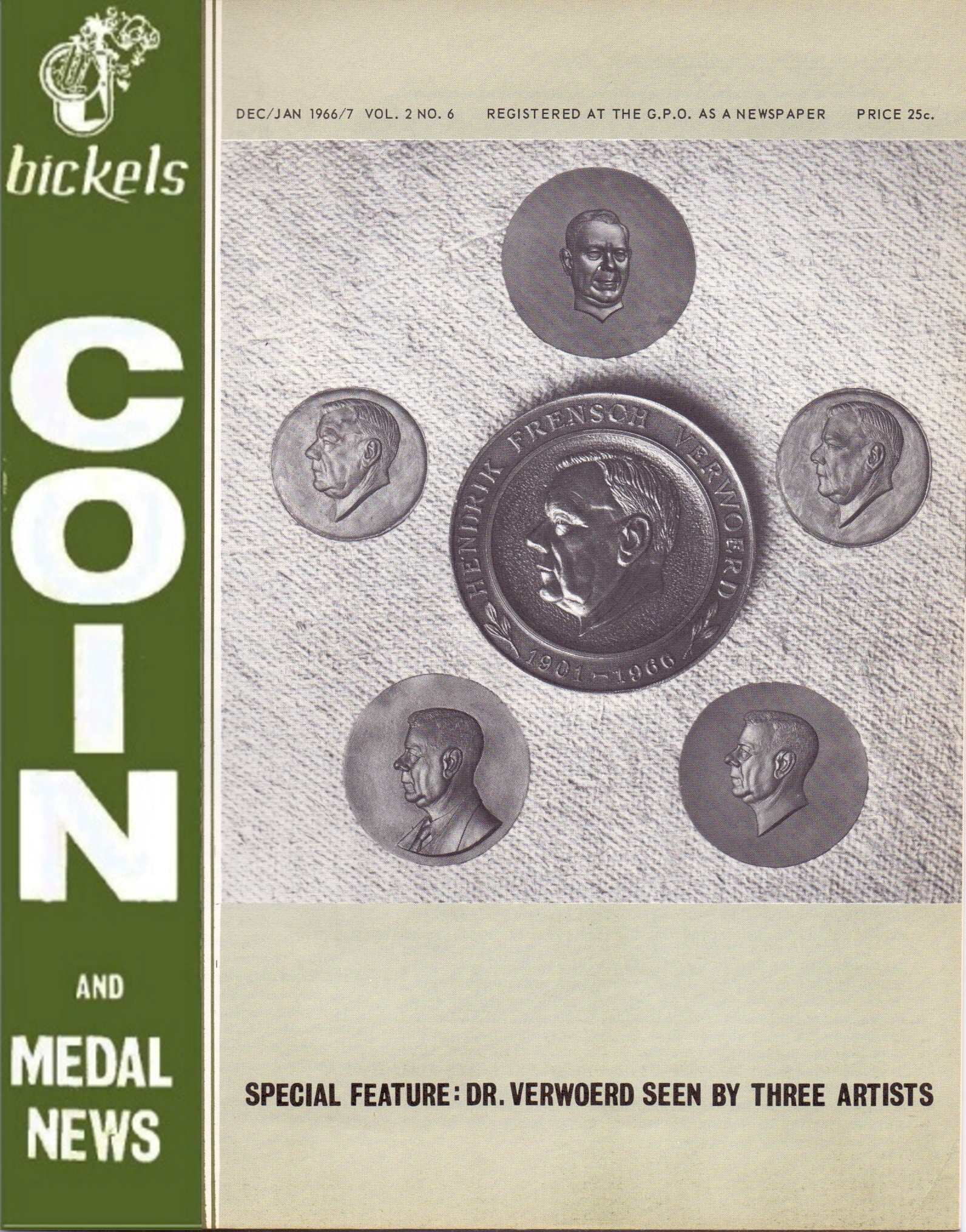 Bickels Coin & Medal News Dec Jan 1966 67 Vol 2 No 6
