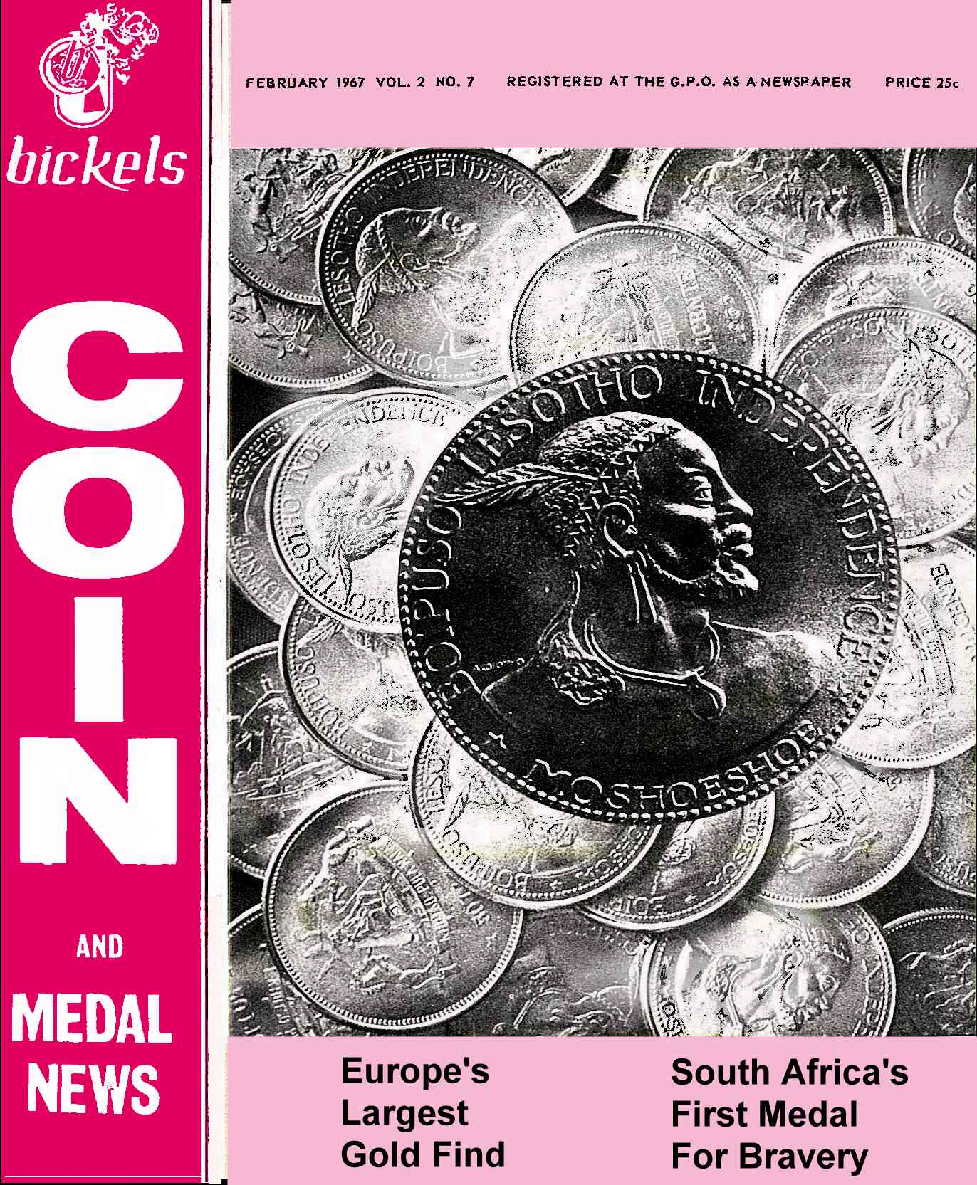 Bickels Coin & Medal News February 1967 Vol 2 No 7