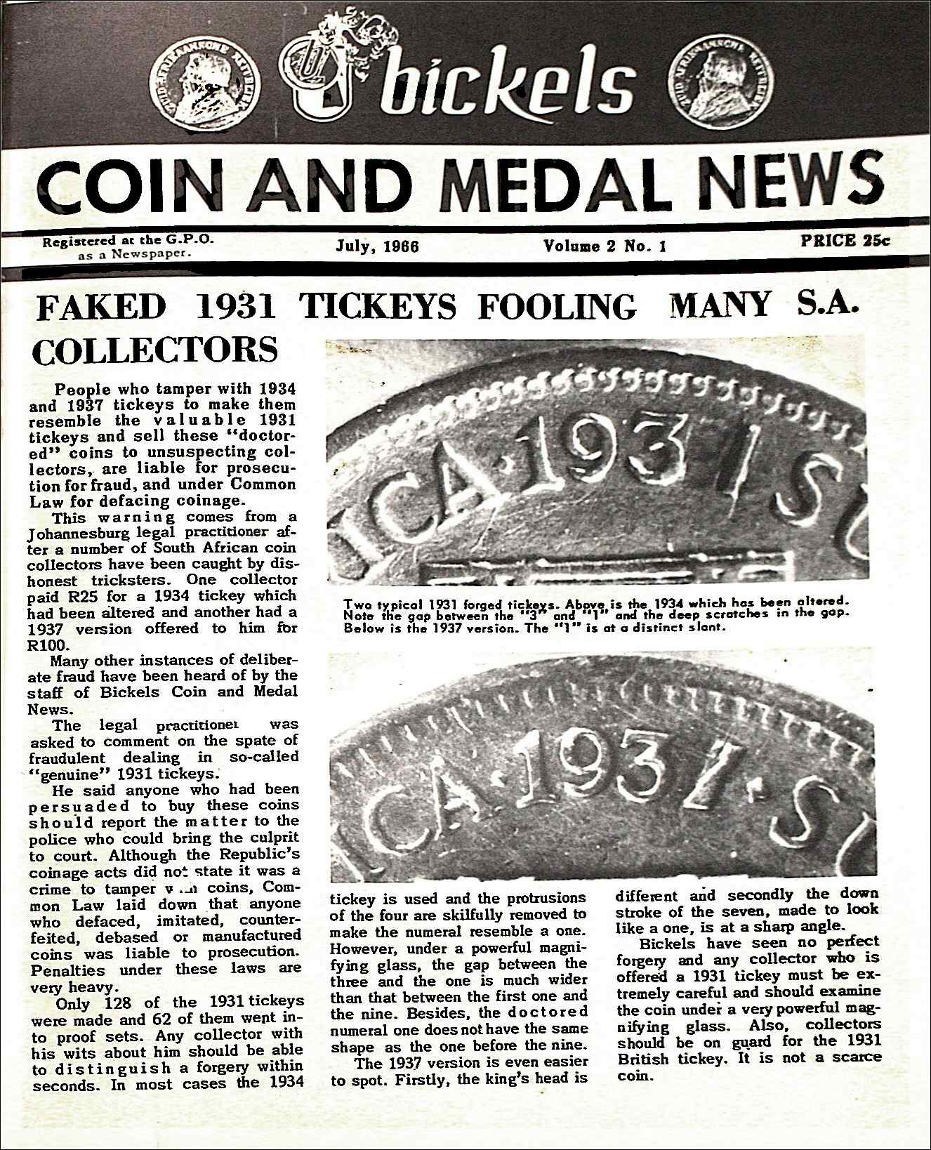 Bickels Coin & Medal News July 1966 Vol 2 No 1