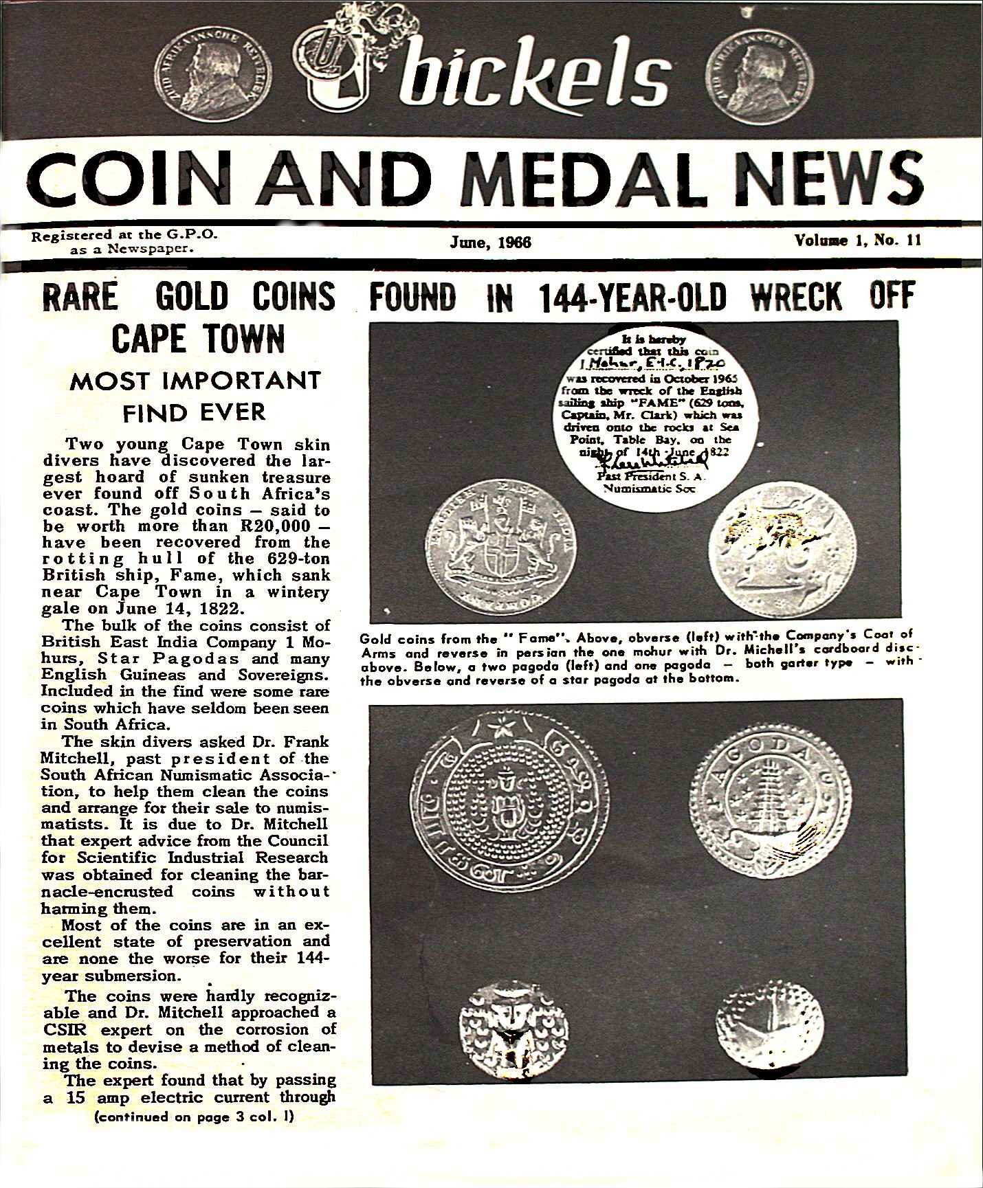 Bickels Coin & Medal News June 1966 Vol 1 No 11