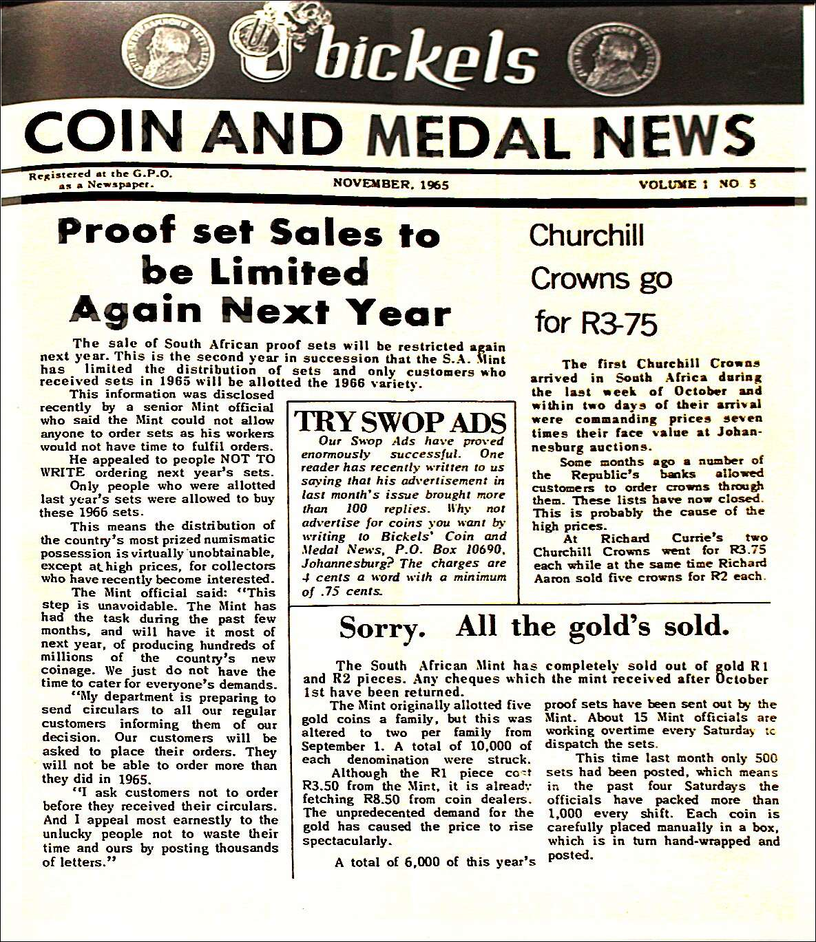Bickels Coin & Medal News November 1965 Vol 1 No 5