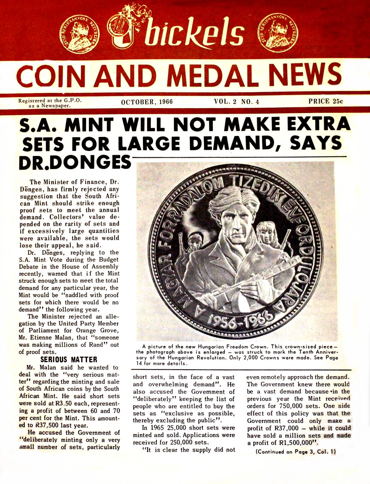 Bickels Coin & Medal News October 1966 Vol 2 No 4