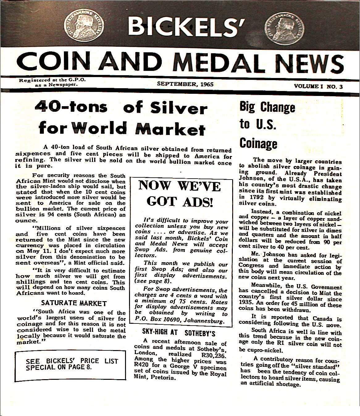 Bickels Coin & Medal News September 1965 Vol 1 No 3