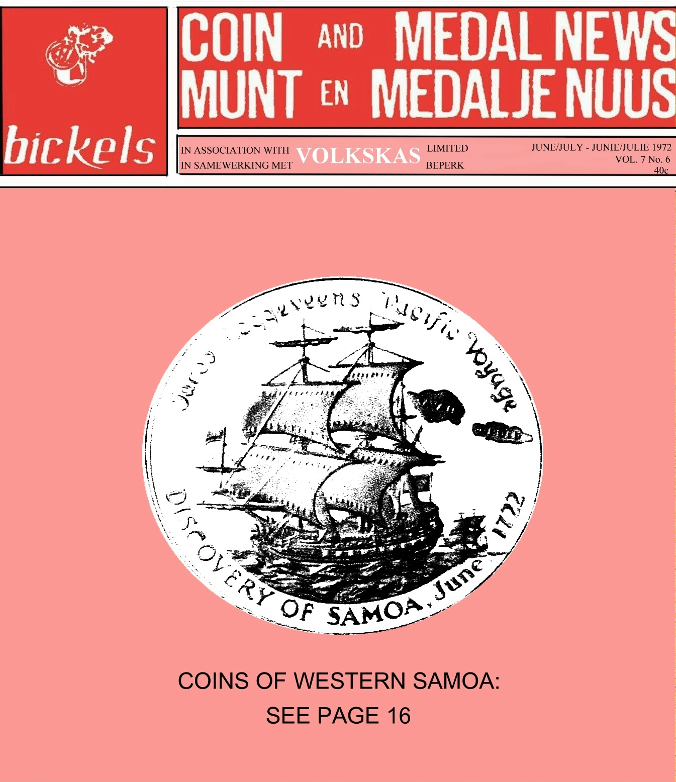 Bickels Coin & Medal News June July 1972 Vol 7 No 6