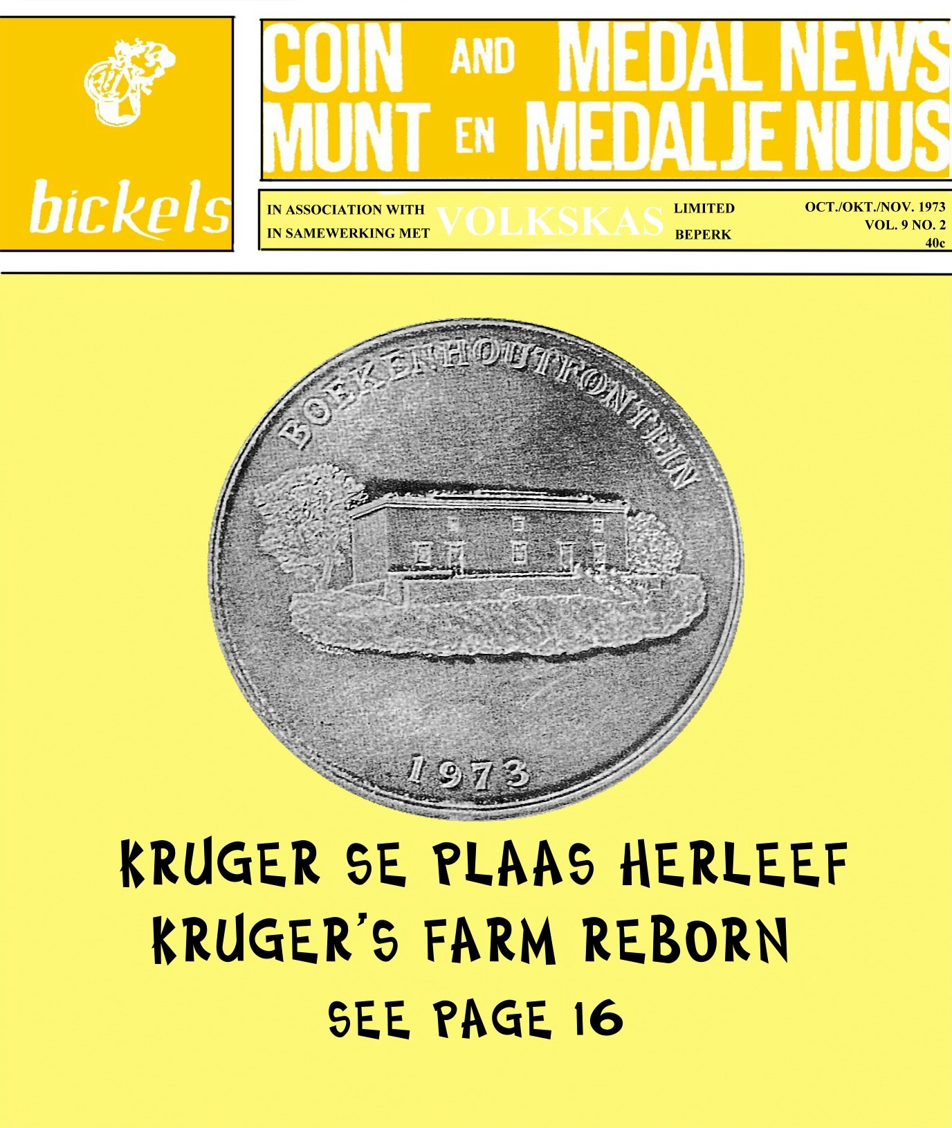 Bickels Coin & Medal News October November 1973 Vol 9 No 2