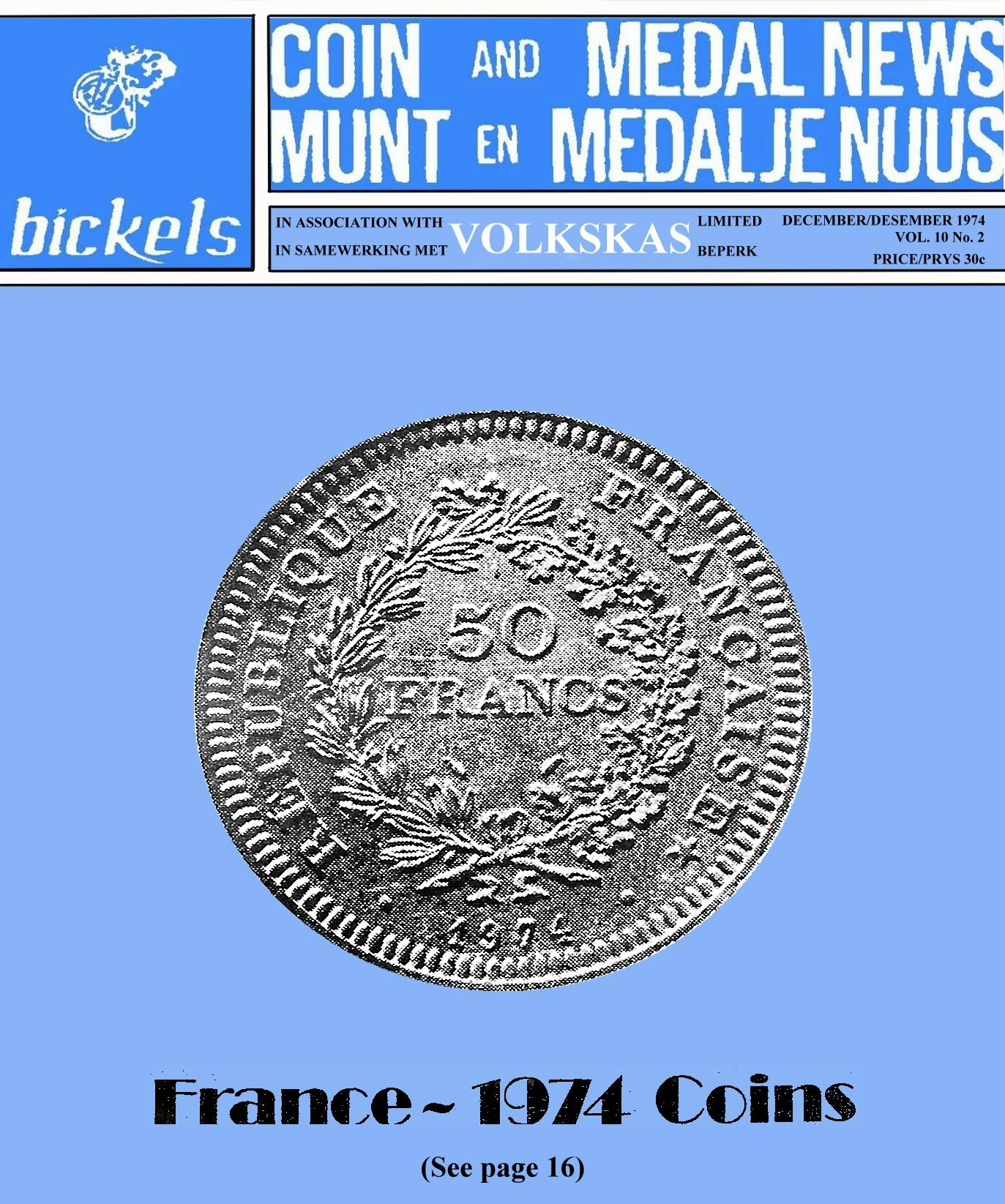Bickels Coin & Medal News December 1974 Vol 10 No 2