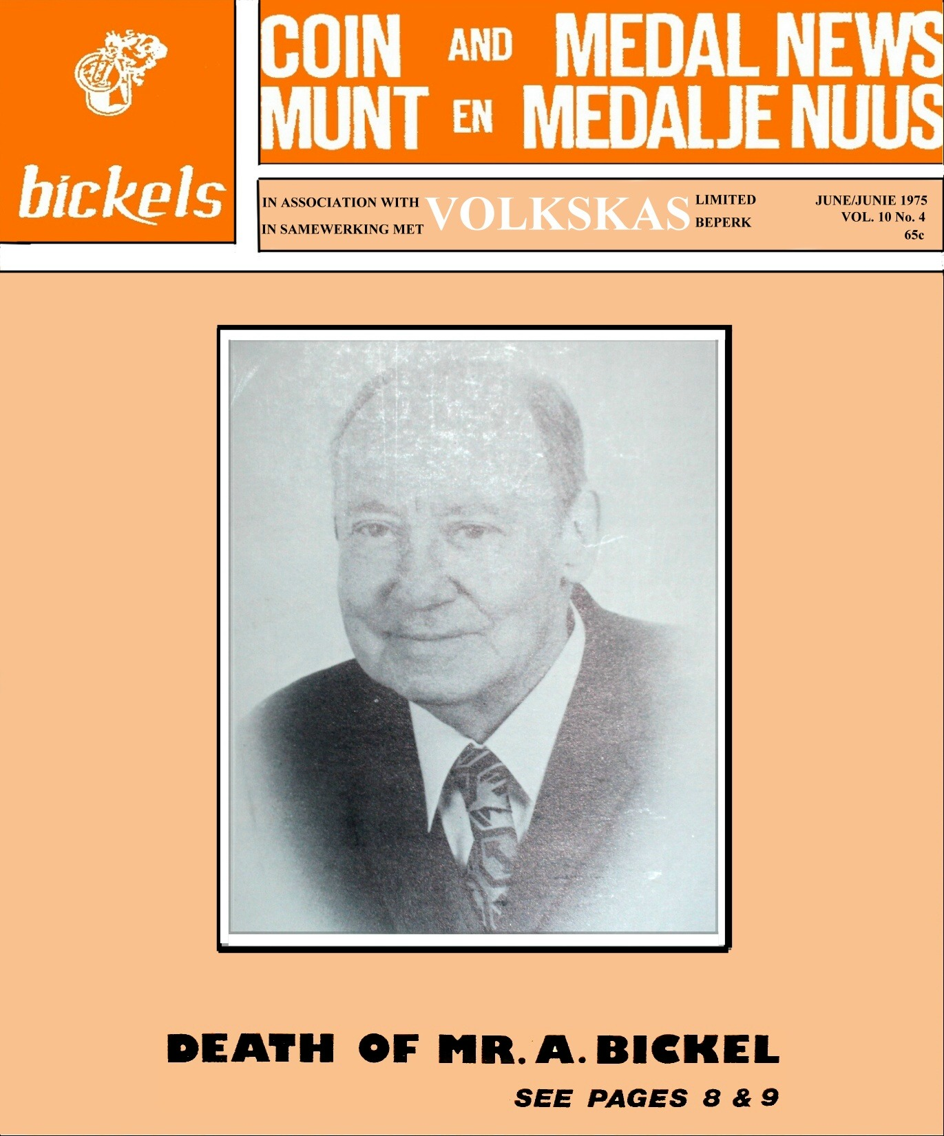 Bickels Coin & Medal News June 1975 Vol 10 No 4