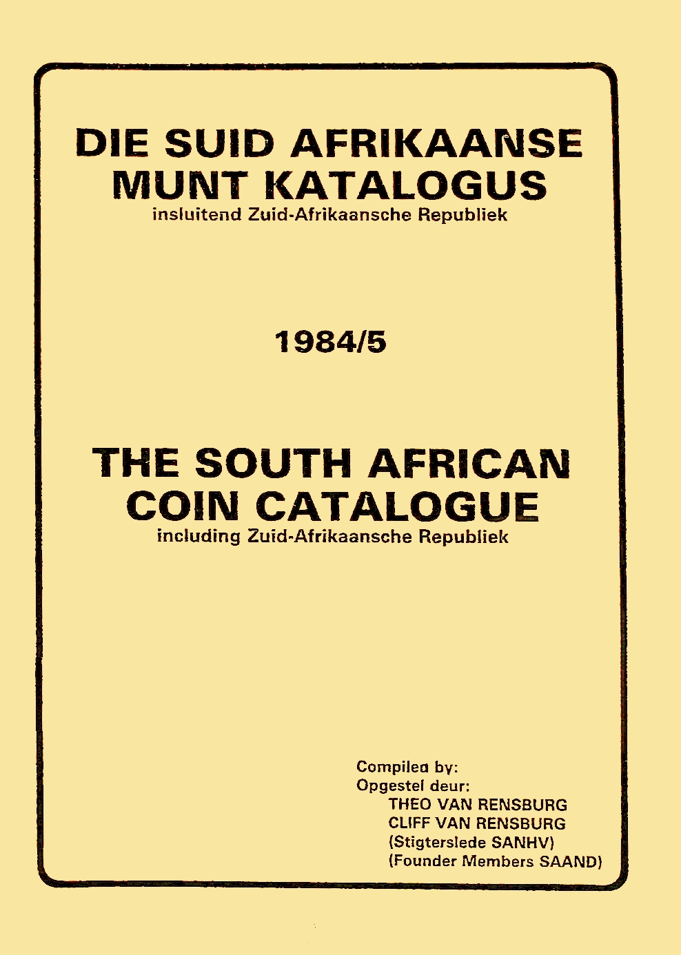 Randburg Coin Catalogue 1984 to 1985