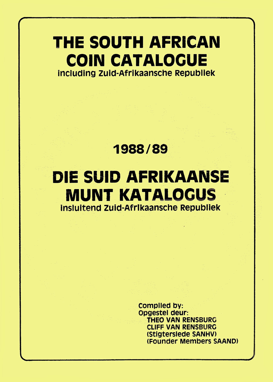 Randburg Coin Catalogue 1988 to 1989
