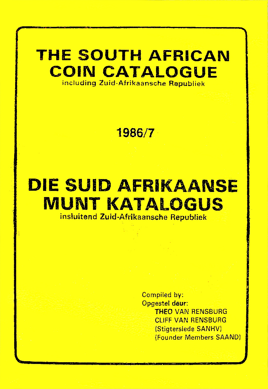 Randburg Coin Catalogue 1986 to 1987