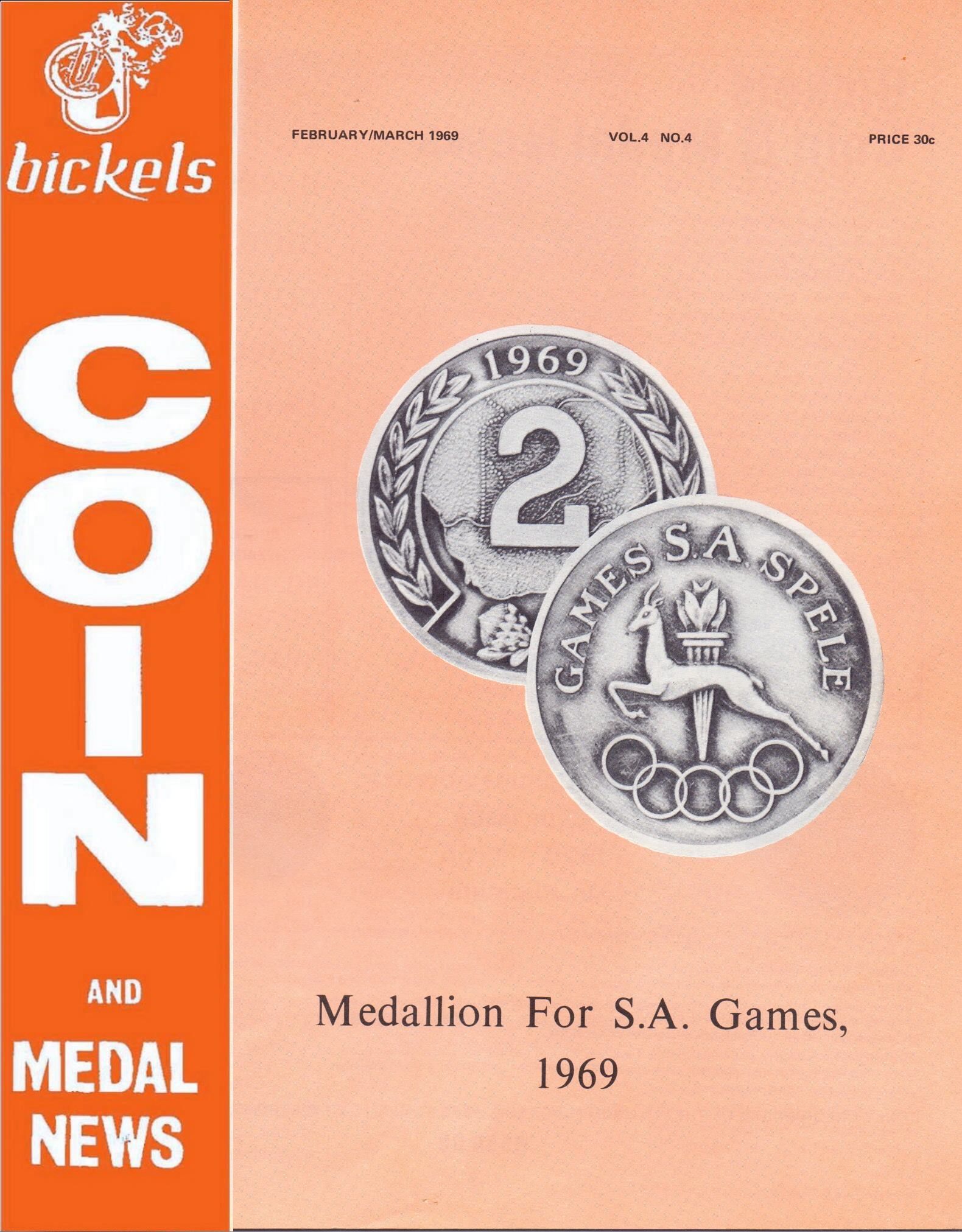 Bickels Coin & Medal News  February March 1969 Vol 4 No 4