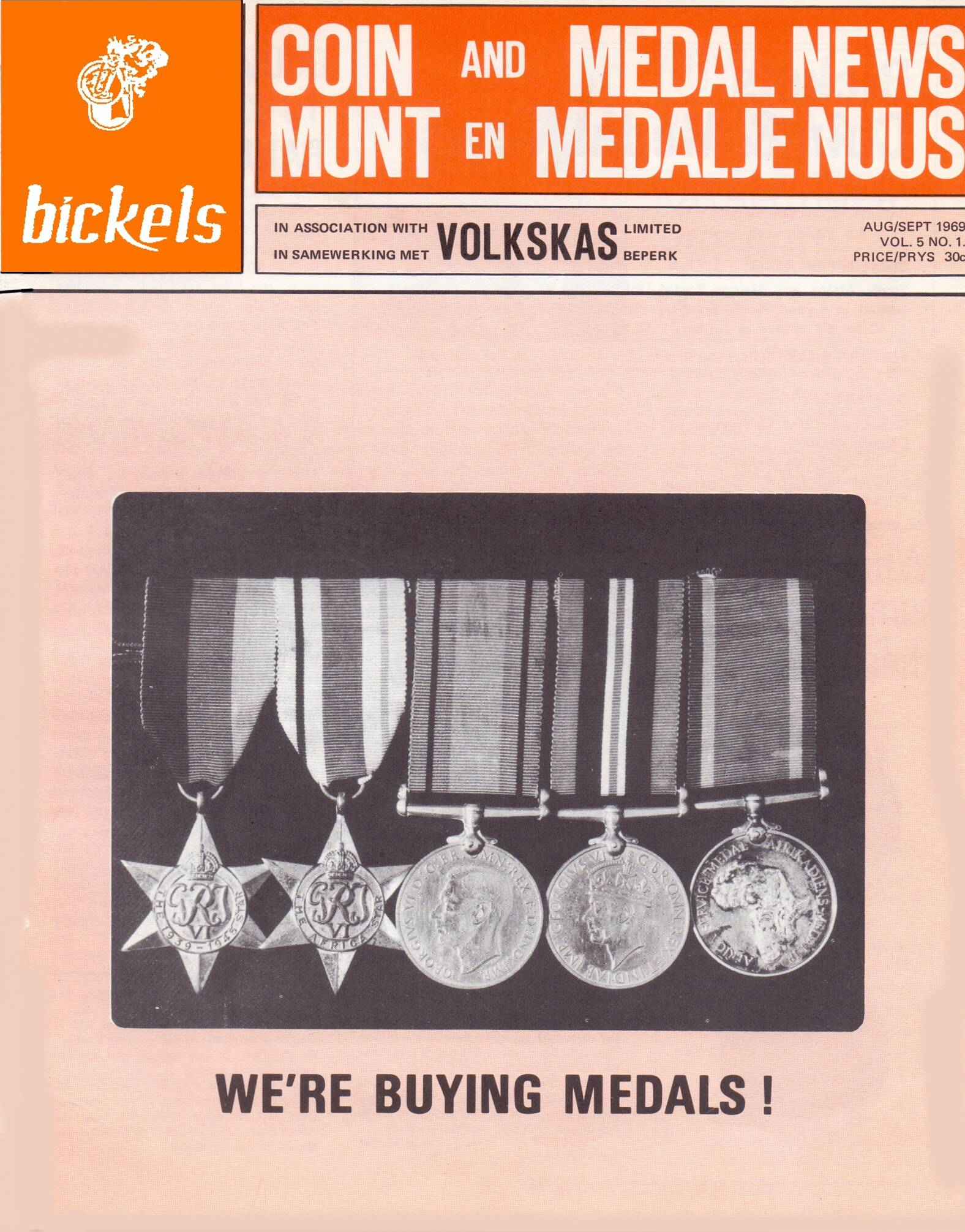 Bickels Coin & Medal News August September 1969 Vol 5 No 1